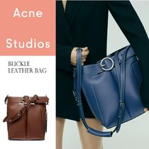 Acne Buckle Bucket bag blue /cognac バケットレザーバッグ 2色