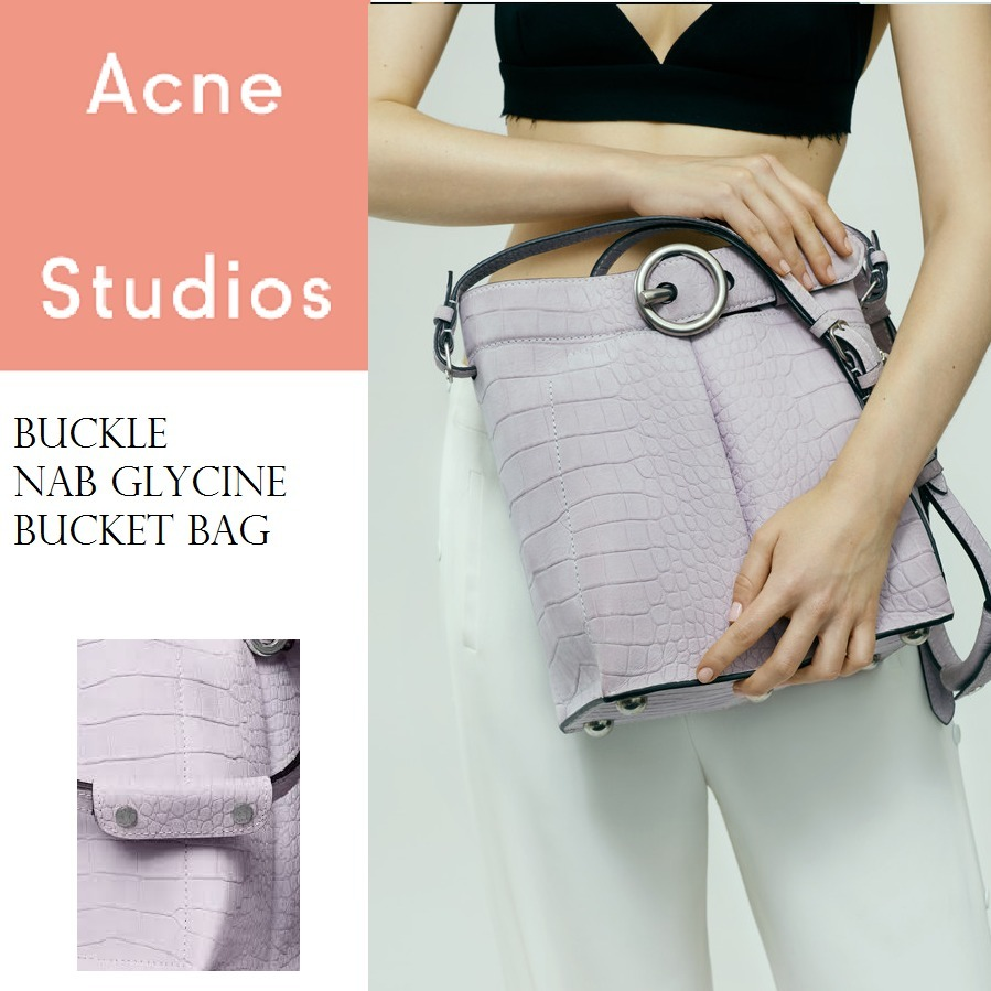 Acne Buckle Nb Glycine Bucket bag バケットレザーバッグピンク