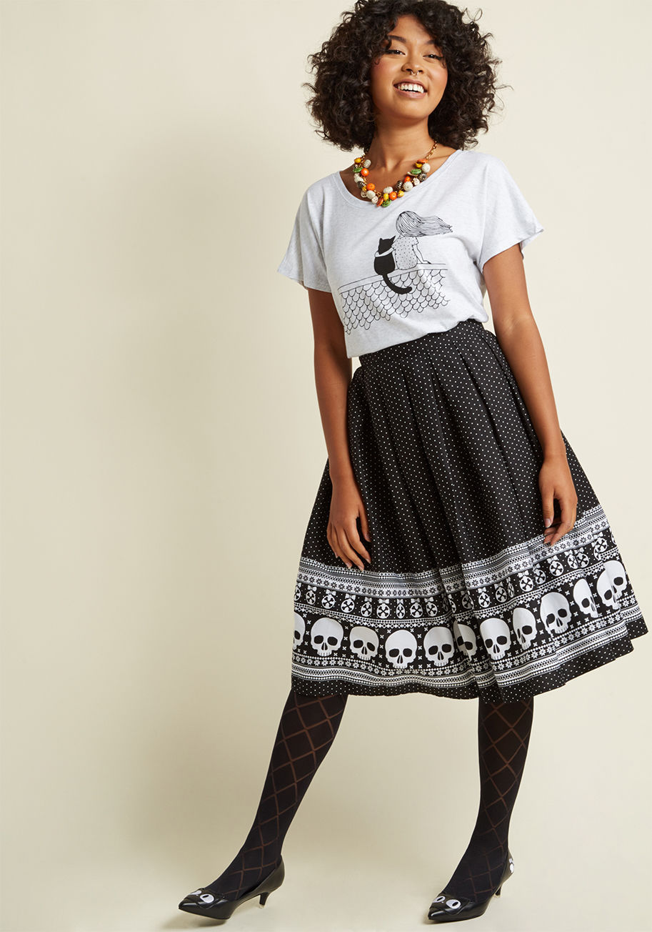 ◎送料込み◎  hell bunny happy skull-idays midi skirt