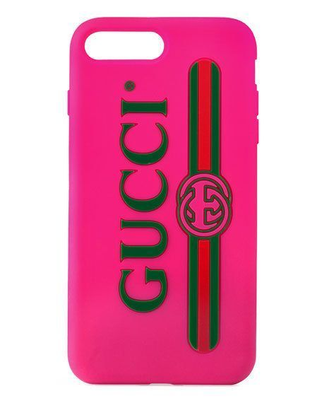 新作!Gucci/Textured Rubber iPhone7 plus Case☆ラバー製☆ロゴ