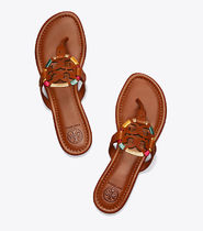 Tory Burch MILLER EMBROIDERED SANDAL, LEATHER