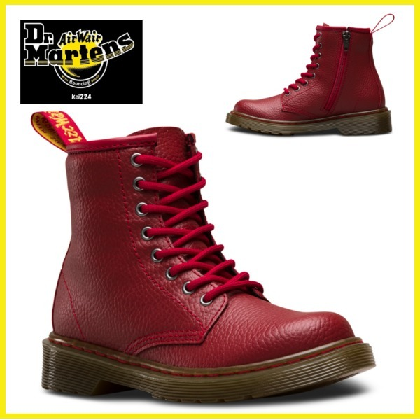 ★ドクターマーチン JUNIOR DELANEY PEBBLE キッズ DARK RED