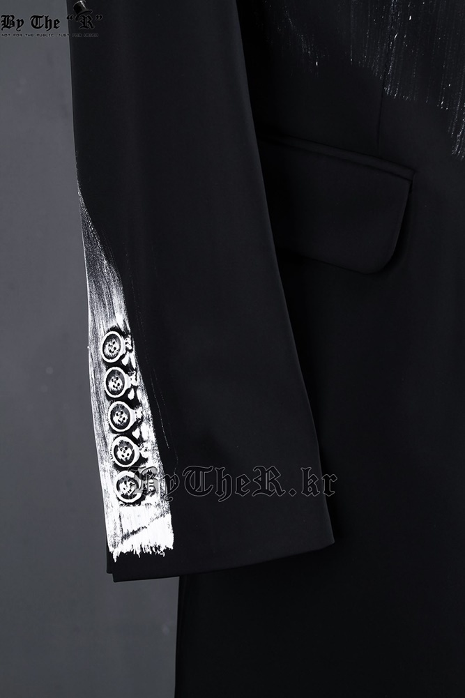 ★韓国の人気★BTHR★CUSTOM HAND PAINTING SLIM LONG BLAZER★