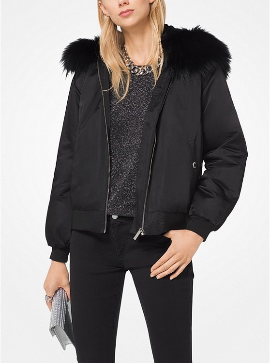 ☆Michael Kors☆ ジャケット♪ Fur-Trimmed Bomber Jacket