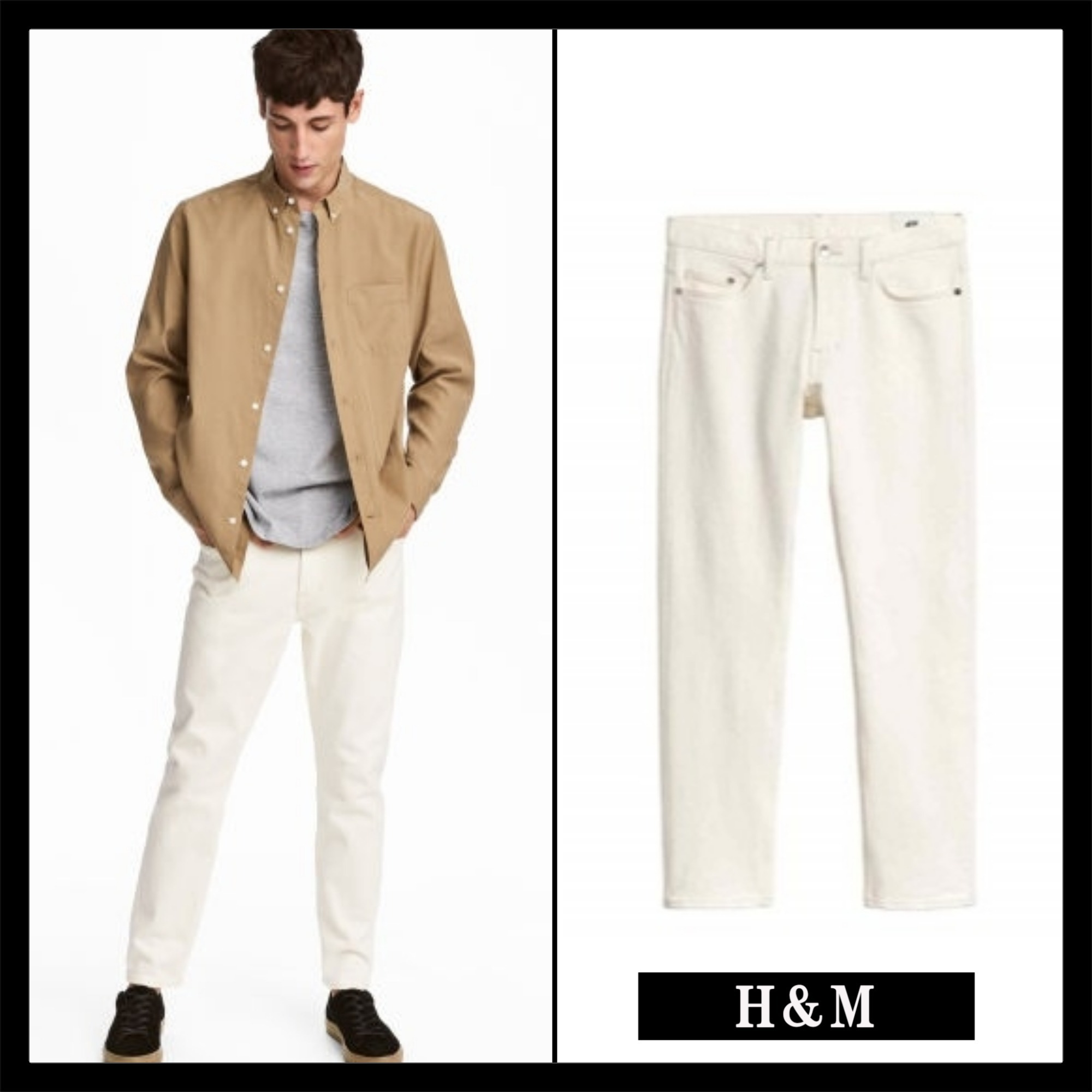 ☆Men's  H&M☆Cropped selvedge jeans