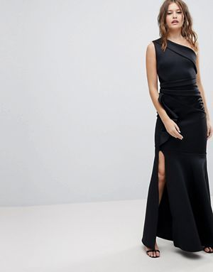 【Lipsy】 One Shoulder Maxi Dress With Ruffle Detail