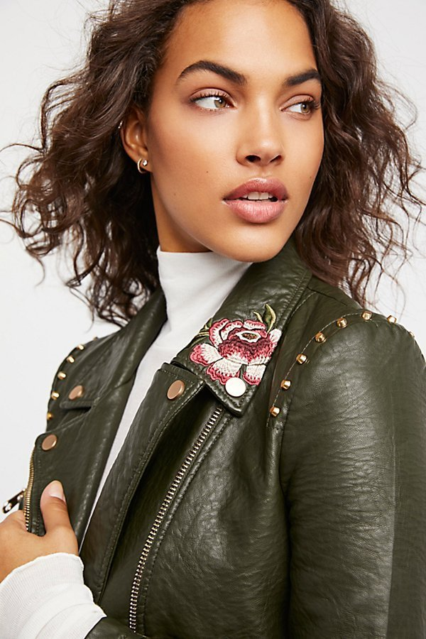 Free People フリーピープル Green Faux Leather モトジャケット
