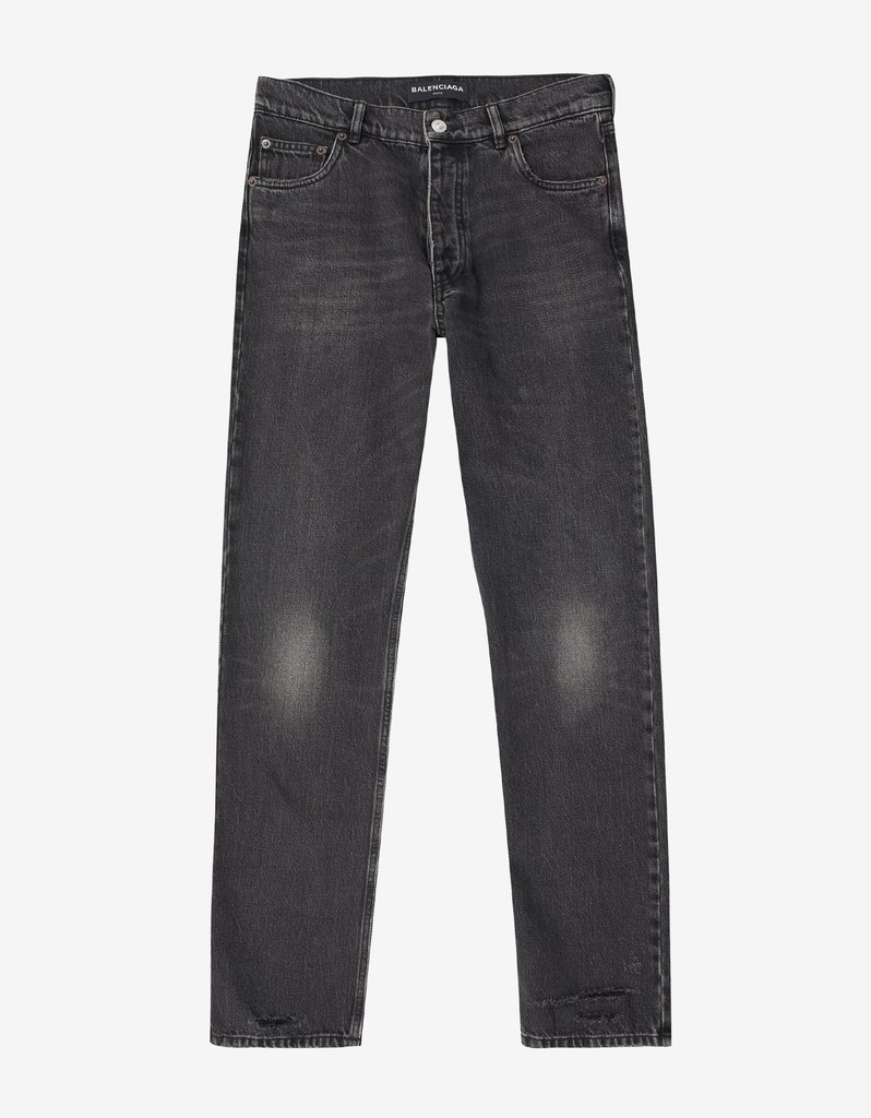 BALENCIAGA☆Black Distressed Denim Jeans