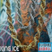 LA発★King Ice★HipHopペンダント The 10mm 14K Gold CZ Rope