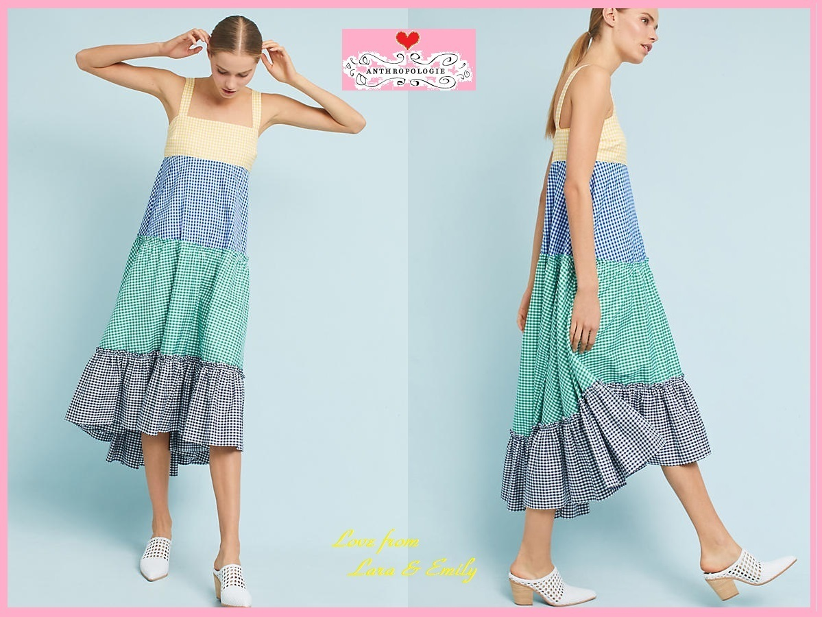 18SS☆最安値保証*関送込【Anthro】Gingham Tiered Dress
