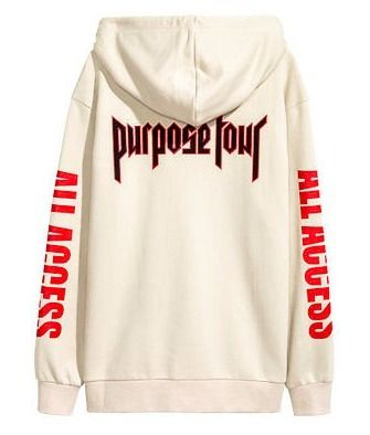 H&M パーカー・フーディ Printed Hooded Sweatshirt (PURPOSE TOUR  beige) Lサイズのみ(2)