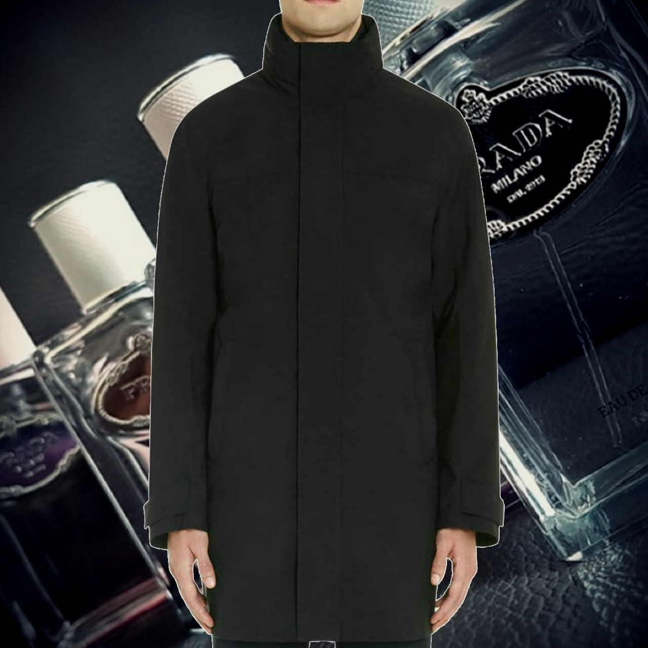 *PRADA*Tech-Fabric Combo Raincoat BLACK コンボ レインコート