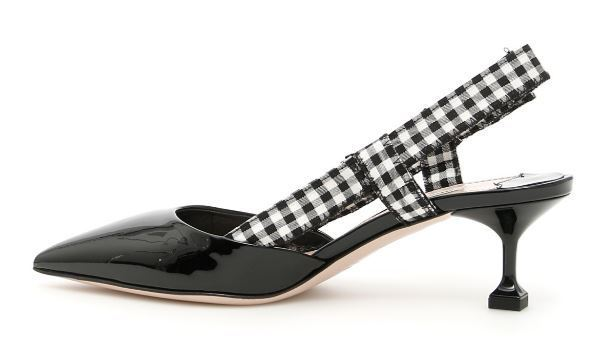 MIU MIU Patent slingbacks with Vichy ribbon