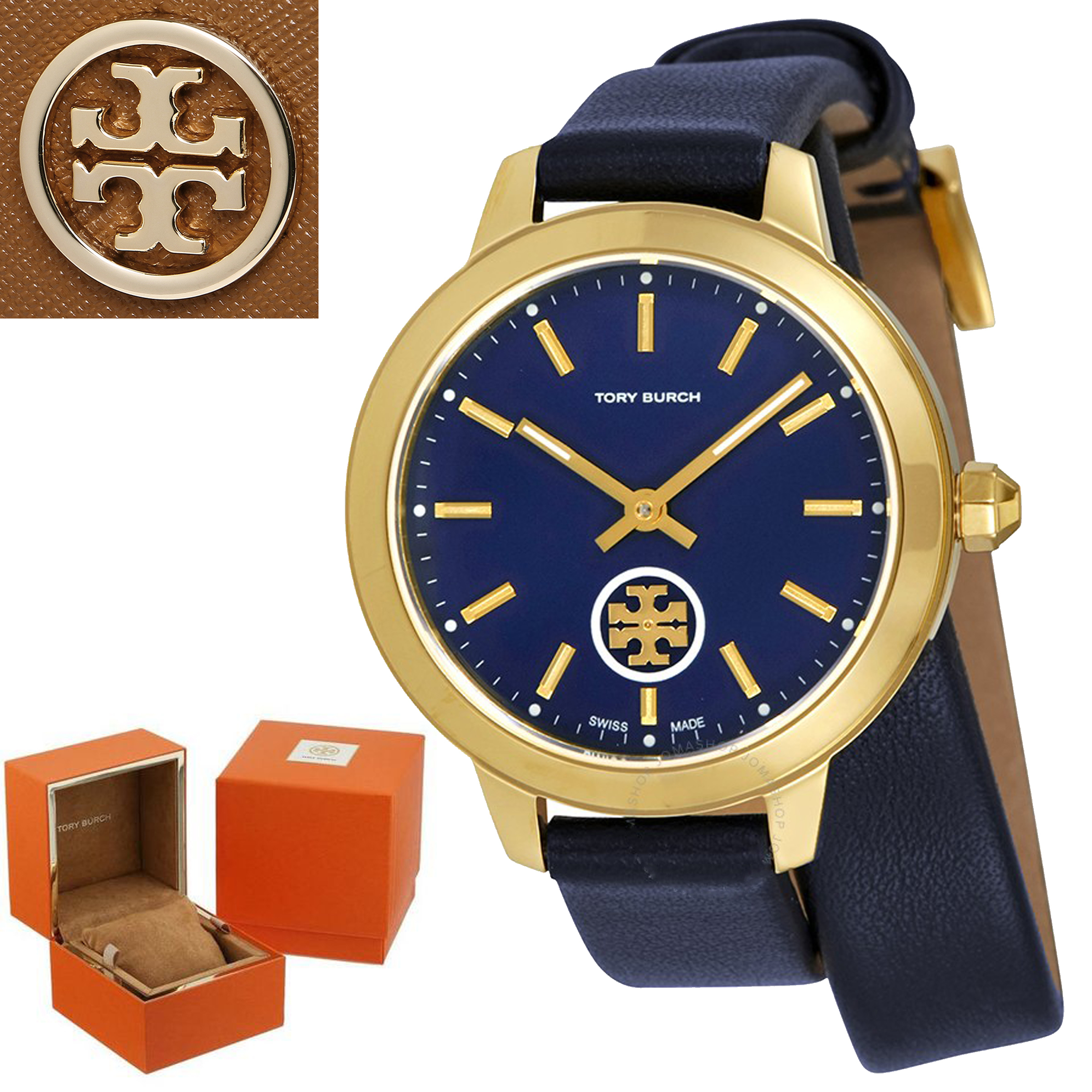 期間限定セール Tory Burch Collins Navy Blue Dial Double Wrap