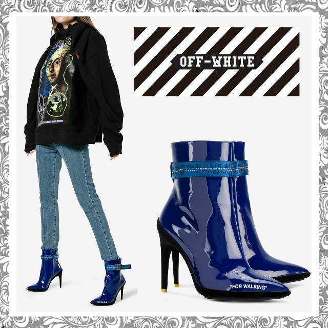 17-18AW【送料関税込】Off-White☆Blue For Walking Ankle Boots