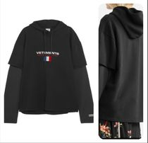 関税送料込 VETEMENTS Layered embroidered フーディー