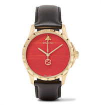 GUCCI(グッチ)Gold PVD-Coated And Leather Watch(関税送料込)