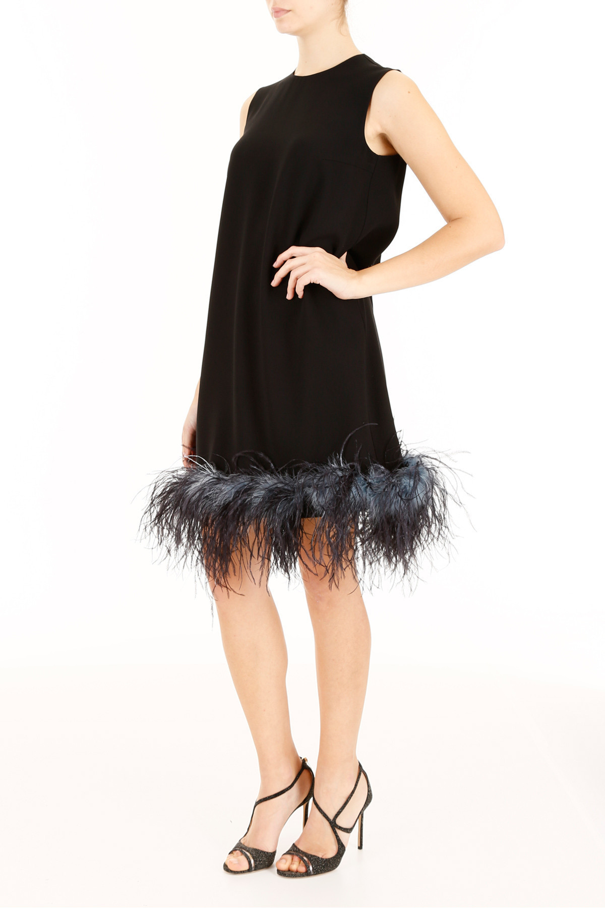 PRADA Sable satin A-line dress with Ostrich feathers