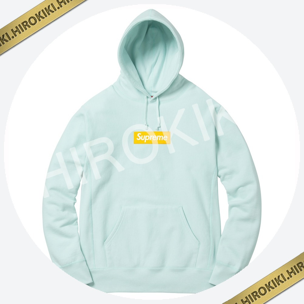 【17AW】Mサイズ★Supreme Box Logo Hooded Sweatshirt Ice Blue
