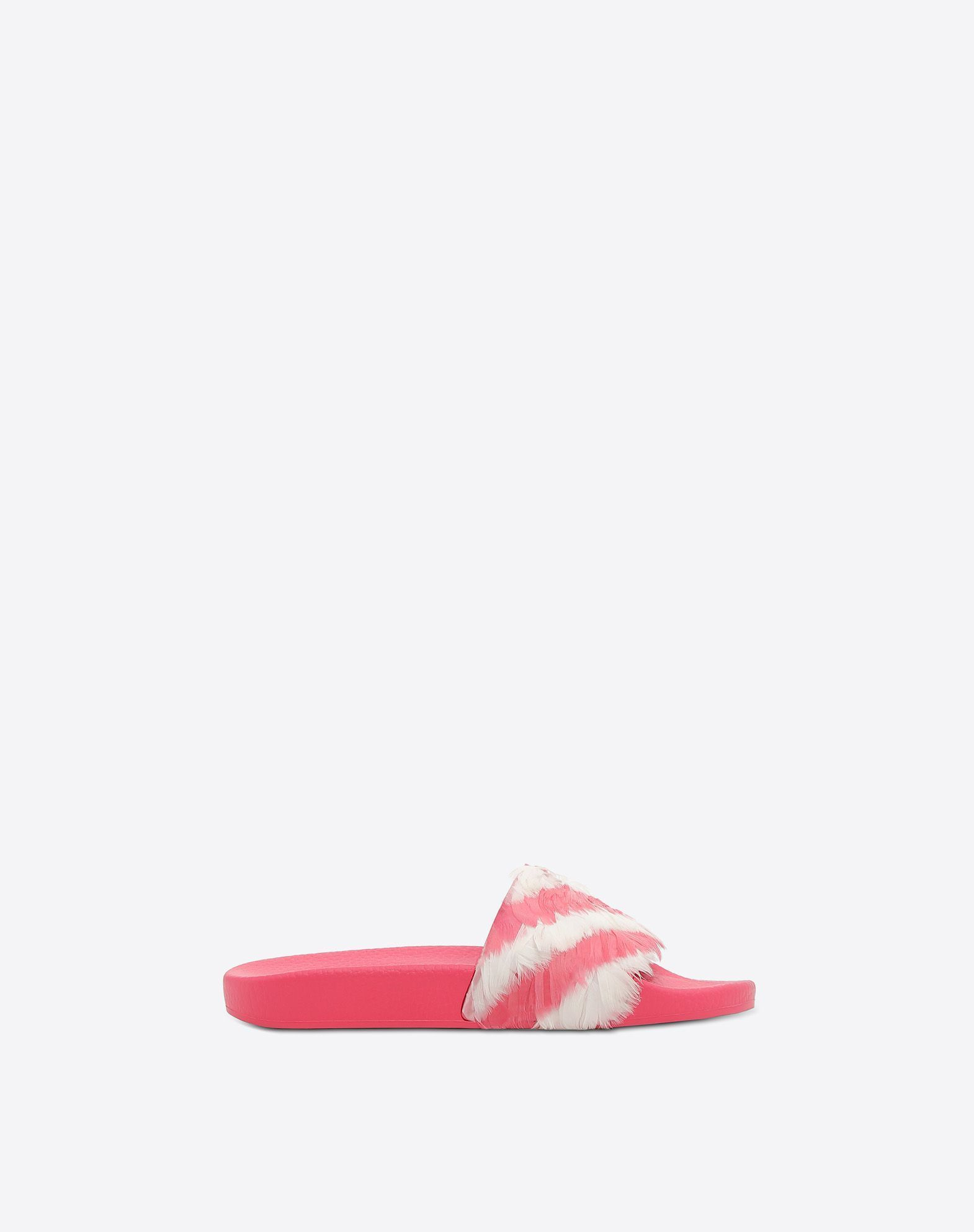 【17AW NEW】VALENTINO_women /SLIDE SANDAL WITH FEATHERS/Pink