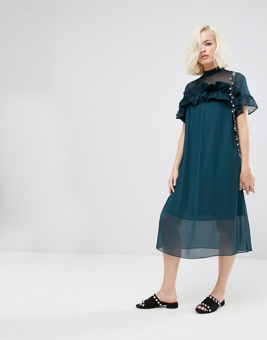 ◎送料込み◎Lost Ink Shift Dress With Sheer Panel And