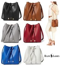 RALPH LAUREN Leather Debby Drawstring Mini Bag