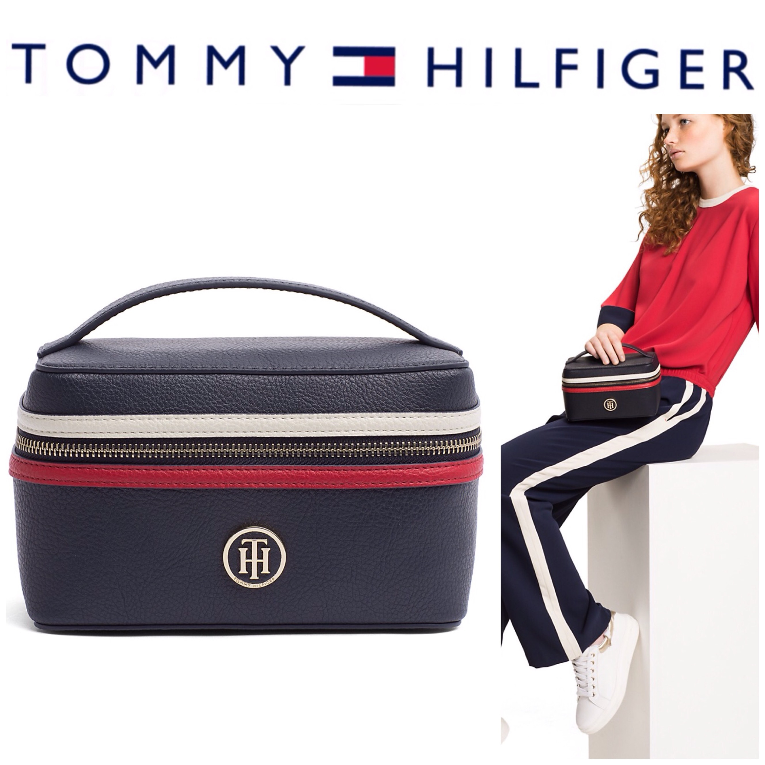 【Tommy Hilfiger】可愛い メイクアップ ポーチ ロゴマーク付き