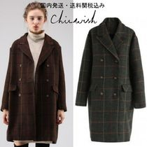 国内発送・送関込☆Chicwish☆Grid Double-Breasted Tweed Coat