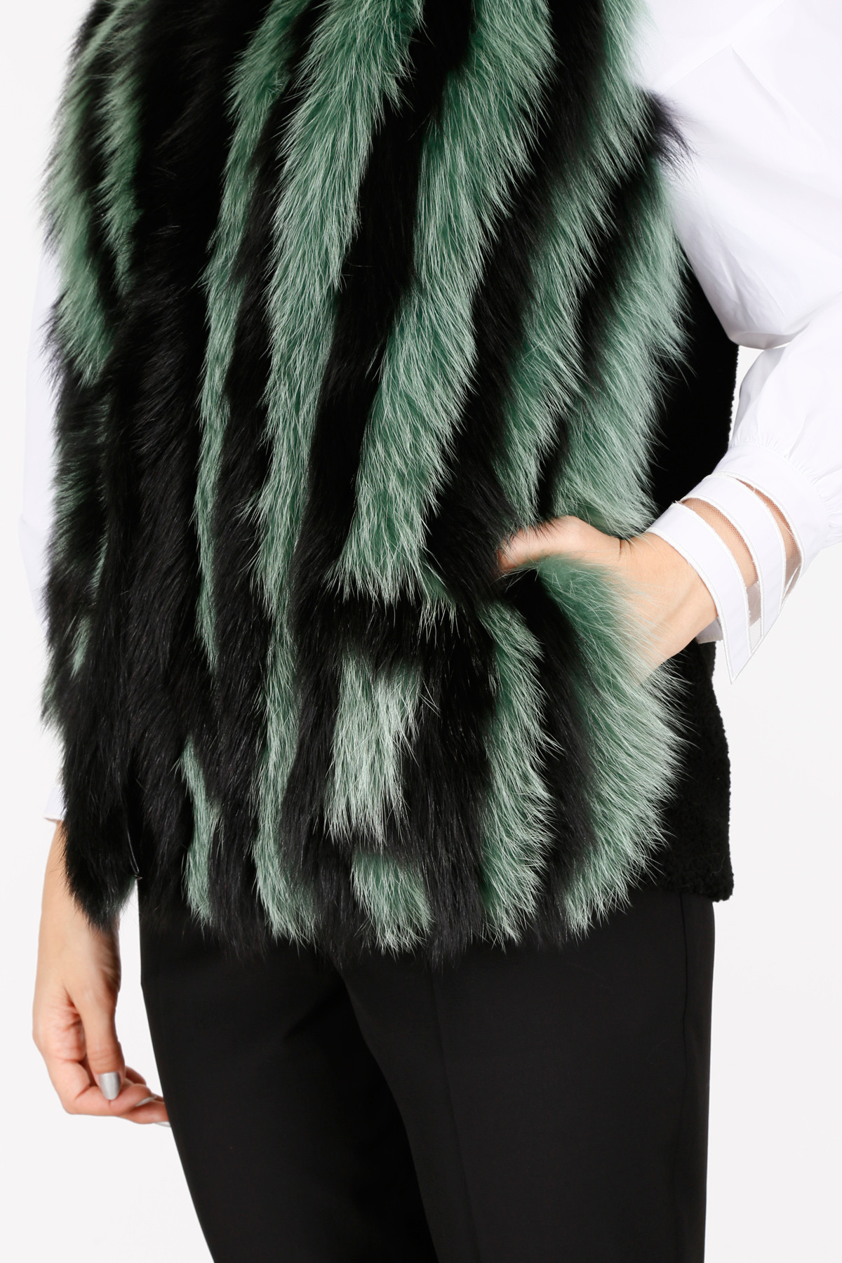 FENDI Shearling And Fox Fur Vest