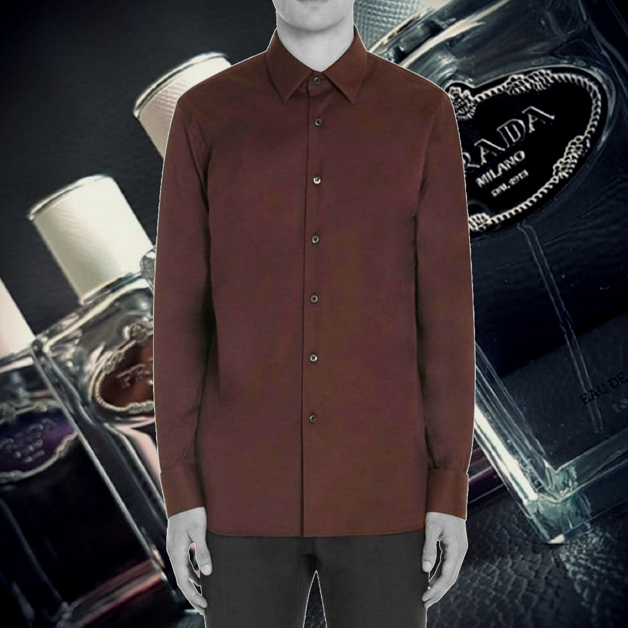 *PRADA*Cotton-Blend Poplin Shirt WINE ポップリン シャツ