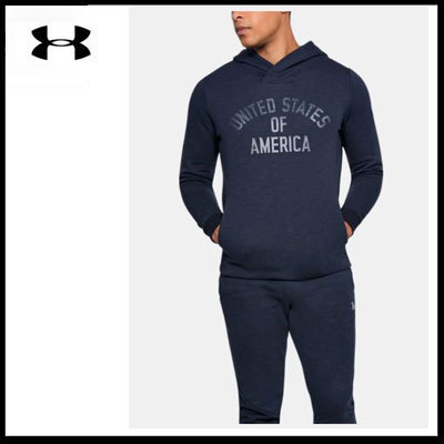 (アンダーアーマー) Men's UA USA Fleece Hoodie Navy 1316242