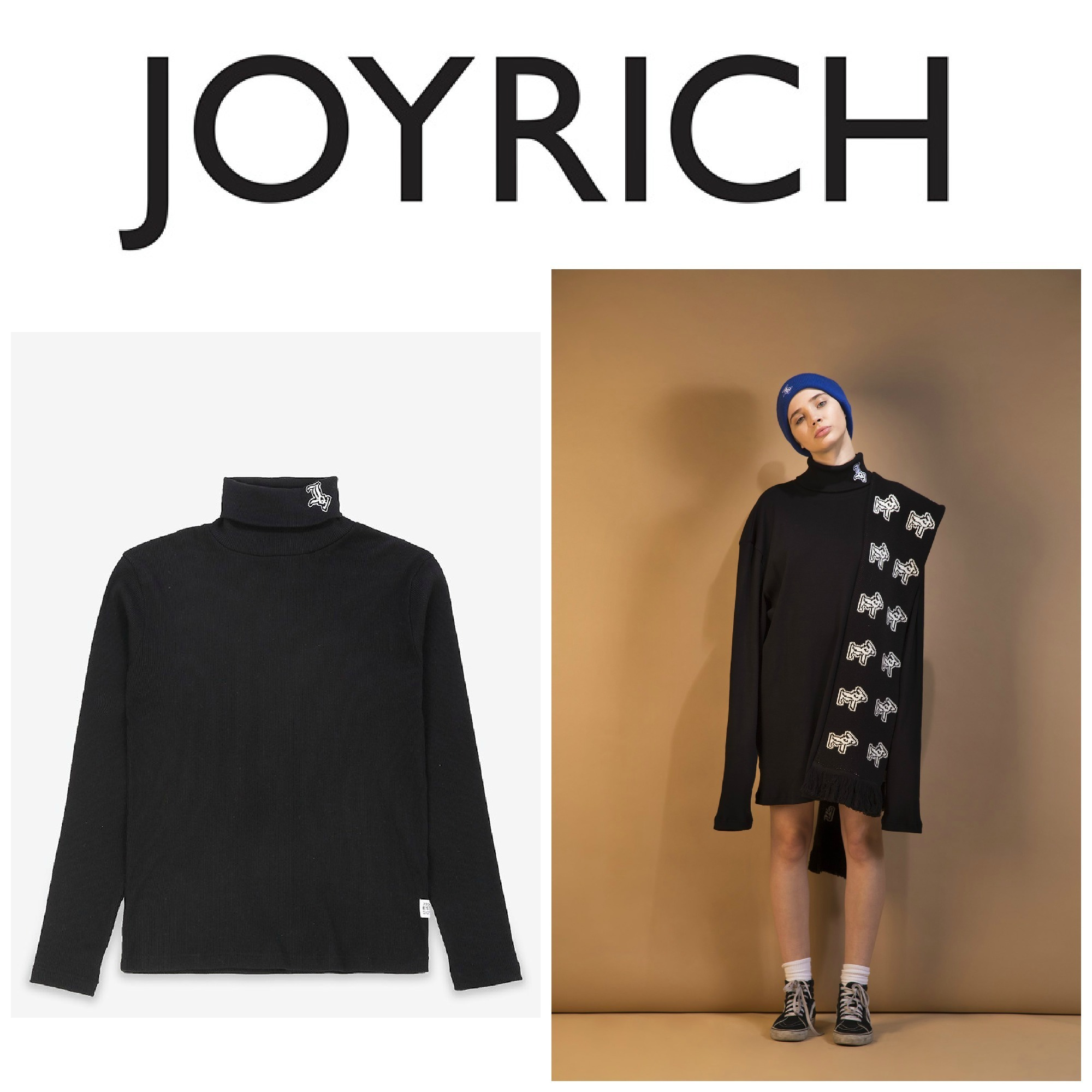【JOYRICH】●新作● Logo Turtle Neck Ribbed L/S Tee / Black