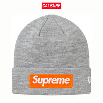 FW17★Supreme NewEra Box Logo Beanie -Heather Grey
