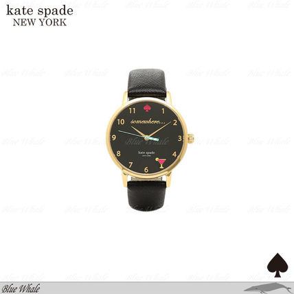 関送込♪kate spade NY♪METRO HAPPY HOUR STRAP WATCH BLK/GLD