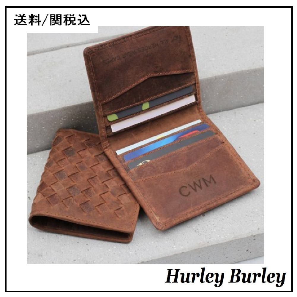 【HURLEY BURLEY】Woven Leather Rfid Protected Card Holder ♪