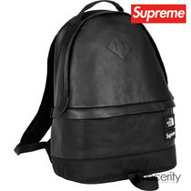 SUPREME THE NORTH FACE LEATHER DAY PACK / BLACK