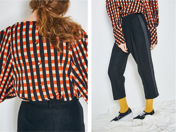 ANOTHER A(アナザーエー)のCheck balloon blouse 全2色
