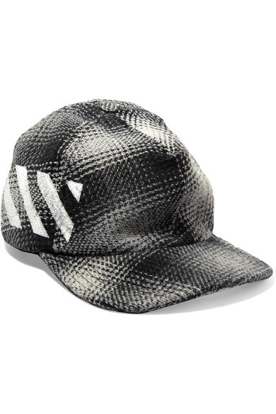 Kanye West愛用【Off-White】Checked cotton-blend baseball cap