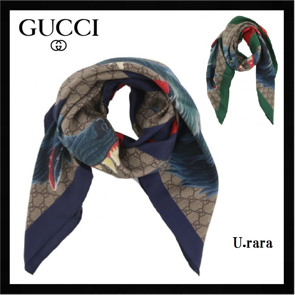 SS18【GUCCI】2色展開★WOLF AND WEB TAPEお洒落シルクストール