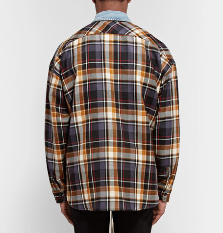 【Fear of God】Oversized Denim-Trimmed Checked Wool