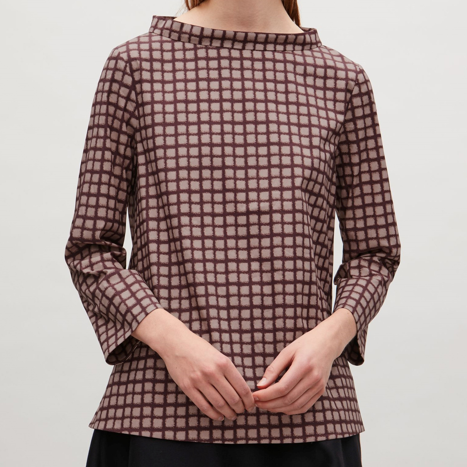 COS☆CHECK WIDE-NECK BLOUSE / mauve