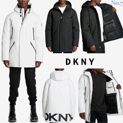 SALE◆DKNY◆モノトーン◆フード付ロングコート/ロングパーカー