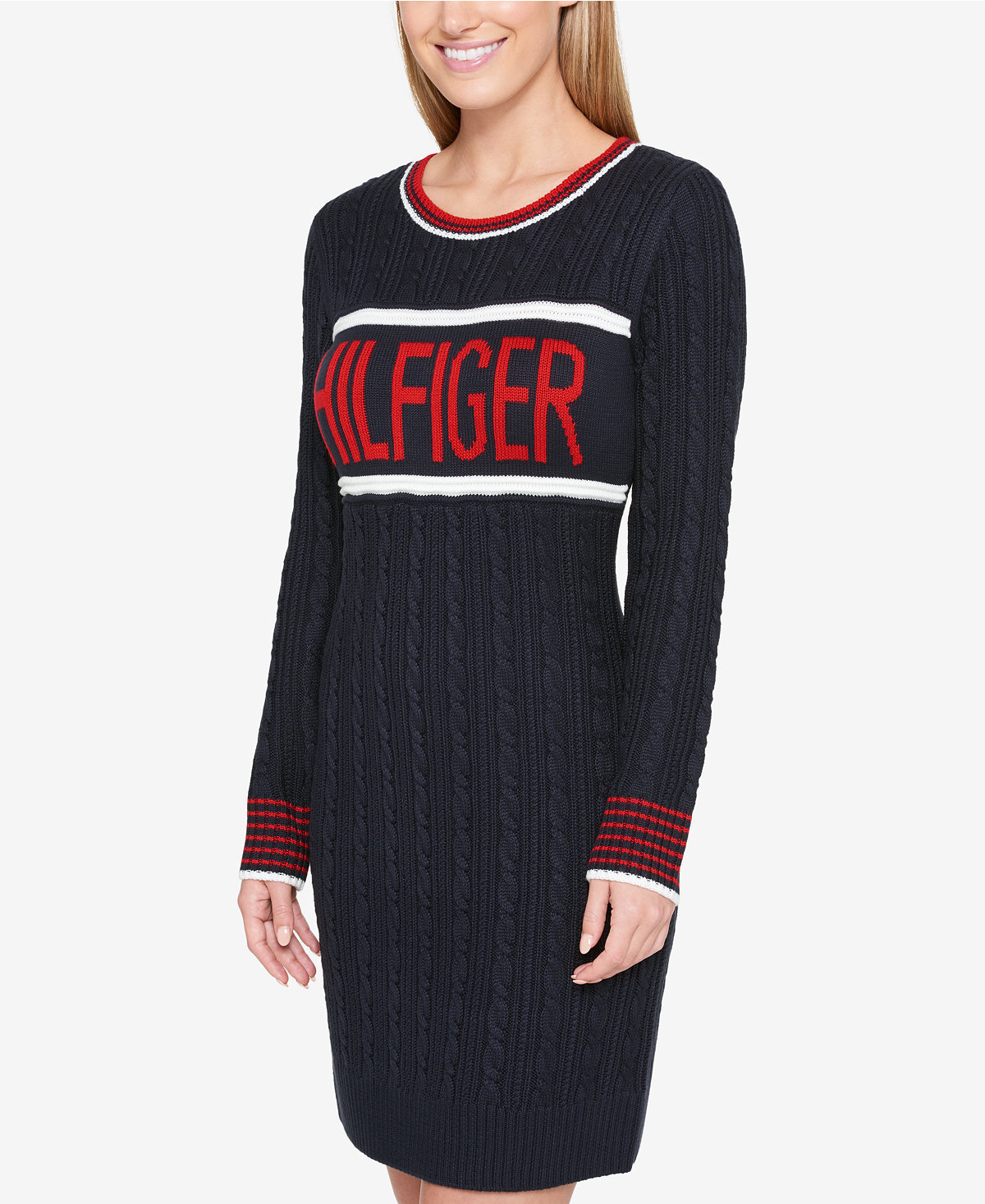 【Tommy Hilfiger 】ロゴ★ニットワンピ Cable Sweater Dress
