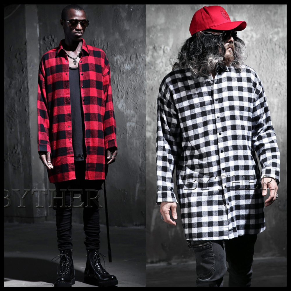 ★韓国の人気★BTHR★GINGHAM CHECK SNAP LONG SHIRTS 2色★