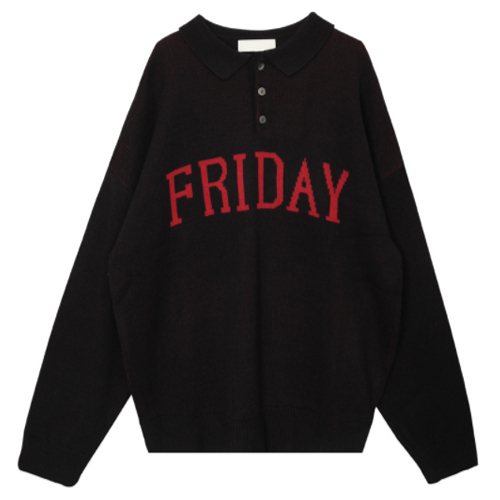 ★ OPEN THE DOOR★friday collar knit(black)