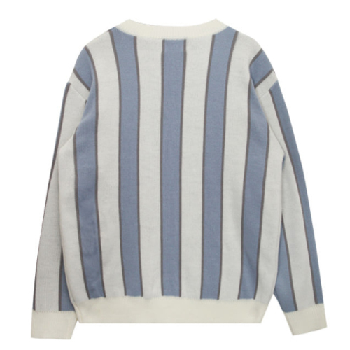 ★ OPEN THE DOOR★stripe v-neck knit (sky blue)