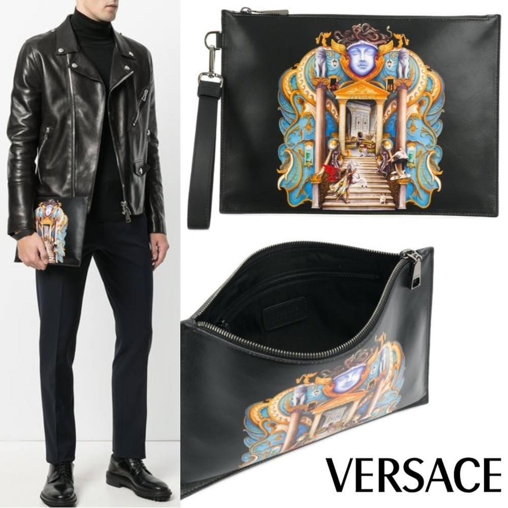 18SS【VERSACE】ギリシア風モチーフ レザー クラッチバッグ 黒
