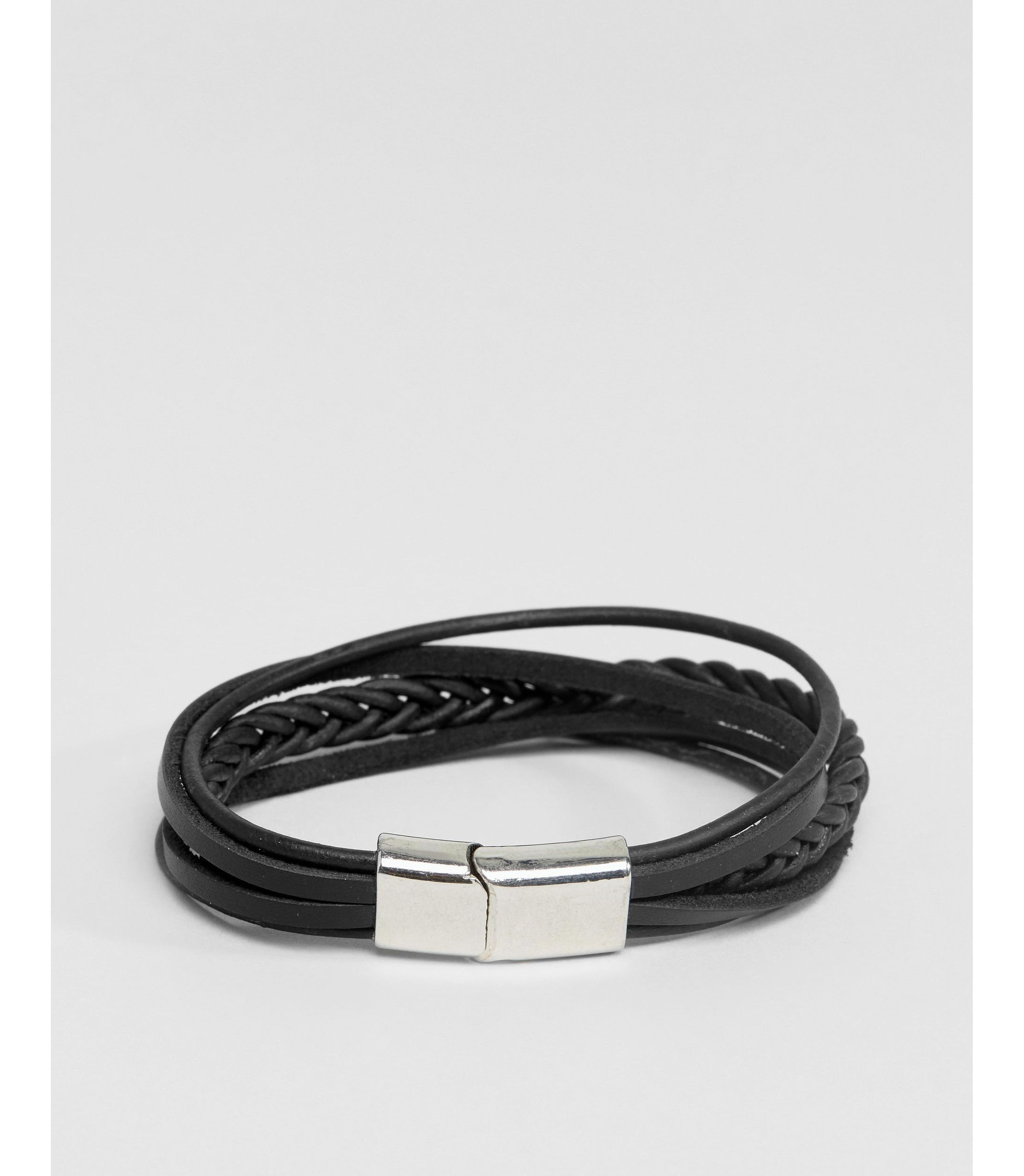 ★ASOS★ レザー & Plaited Bracelet  Black