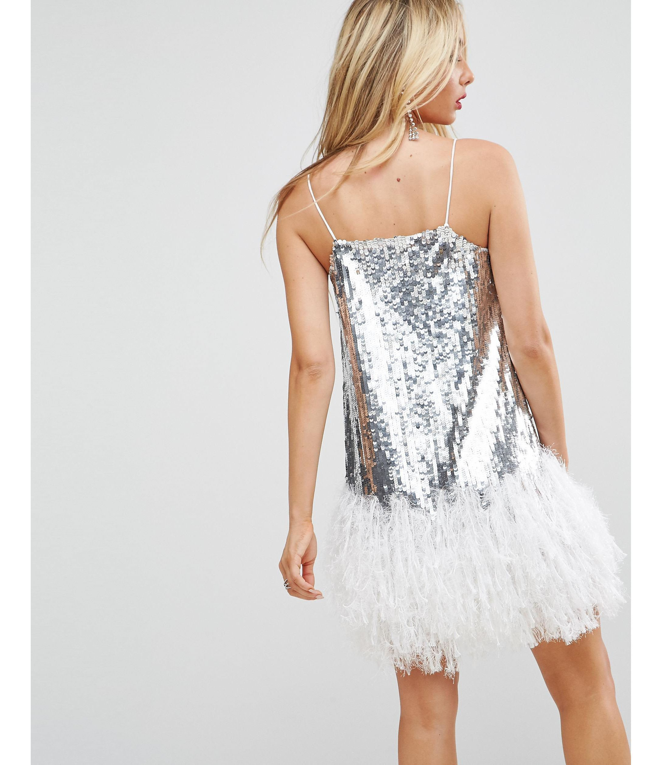 ★ASOS★ Cami Embellished Feather Hem ミニ ワンピース