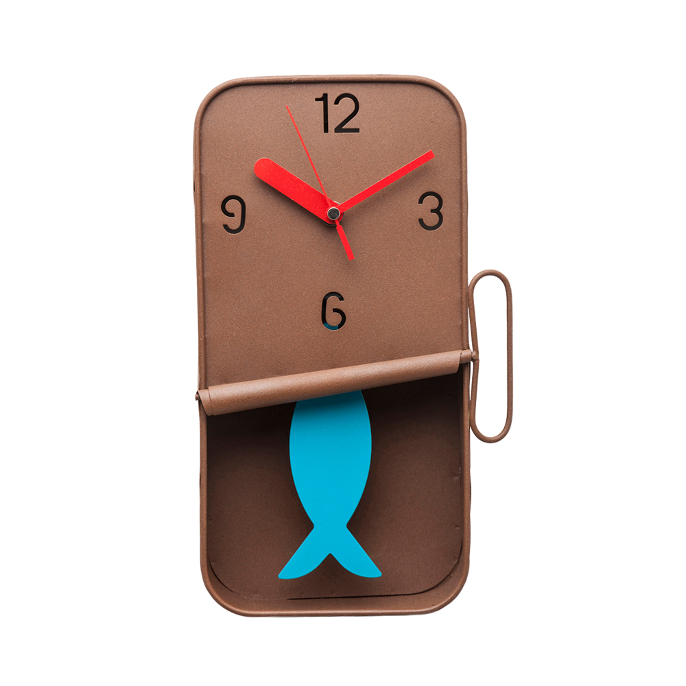 (時計)Wall Clock Fish Can Brown
